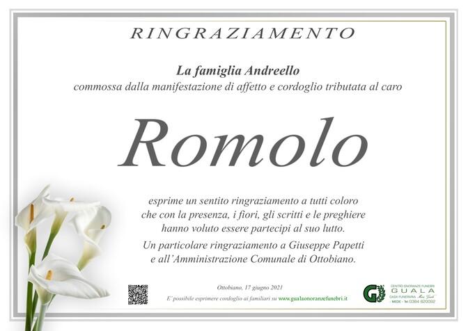 Ringraziamento per Romolo Andreello