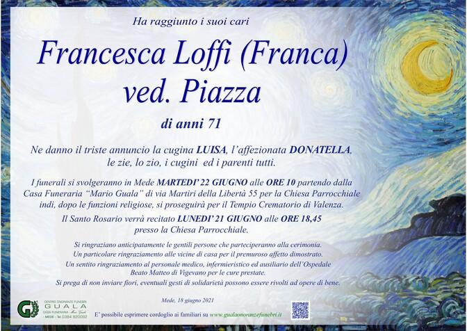 Necrologio di Francesca Loffi (Franca) ved. Piazza
