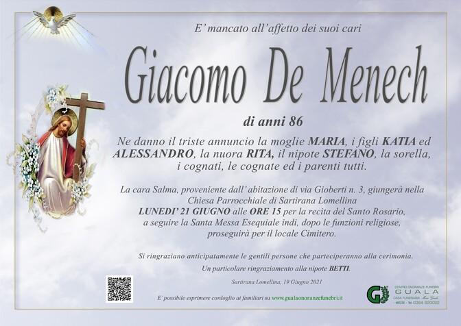 Necrologio di Giacomo De Menech