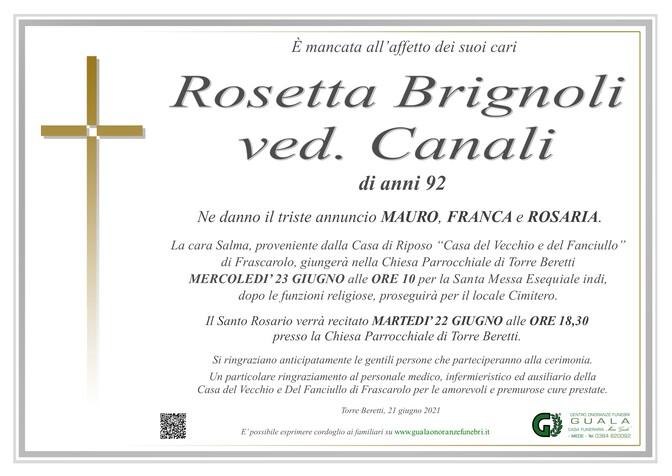 Necrologio di Rosetta Brignoli ved. Canali