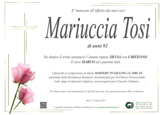Necrologio di Mariuccia Tosi