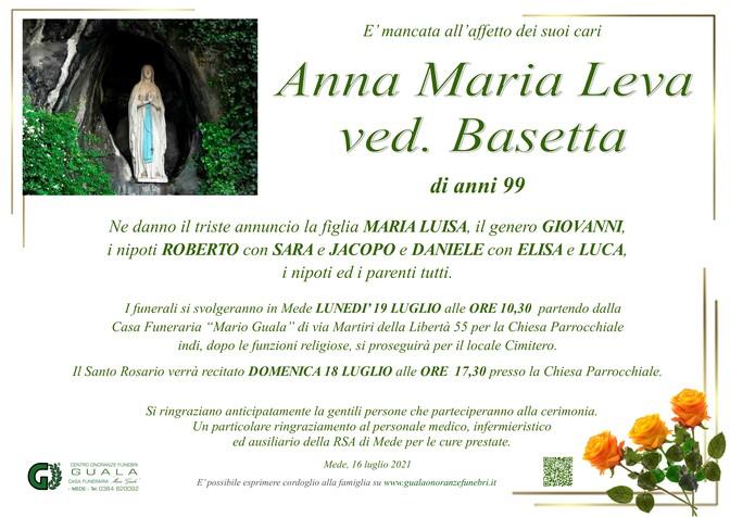 Necrologio di Anna Maria Leva ved. Basetta