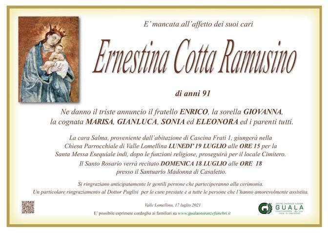 Necrologio di Ernestina Cotta Ramusino