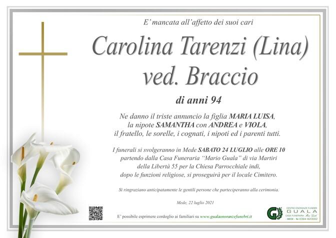 Necrologio di Carolina Tarenzi (Lina) ved. Braccio
