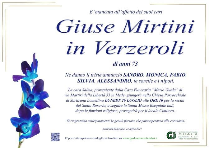 Necrologio di Giuse Mirtini in Verzeroli