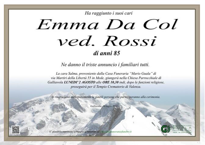 Necrologio di Emma Da Col ved. Rossi
