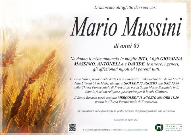 Necrologio di Mario Mussini