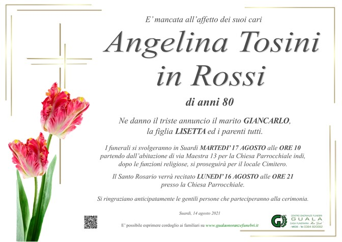 Necrologio di Angelina Tosini in Rossi