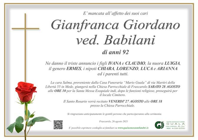 Necrologio di Gianfranca Giordano ved. Babilani
