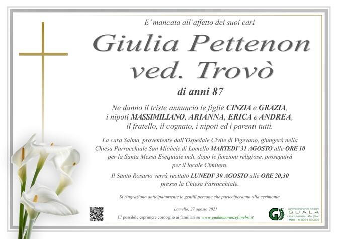 Necrologio di Giulia Pettenon ved. Trovò