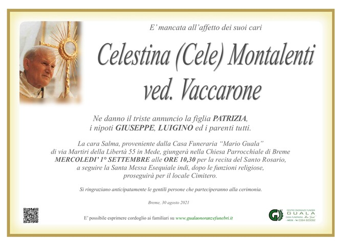 Necrologio di Celestina (Cele) Montalenti ved. Vaccarone