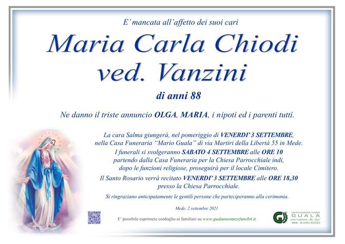 Necrologio di Maria Carla Chiodi ved. Vanzini
