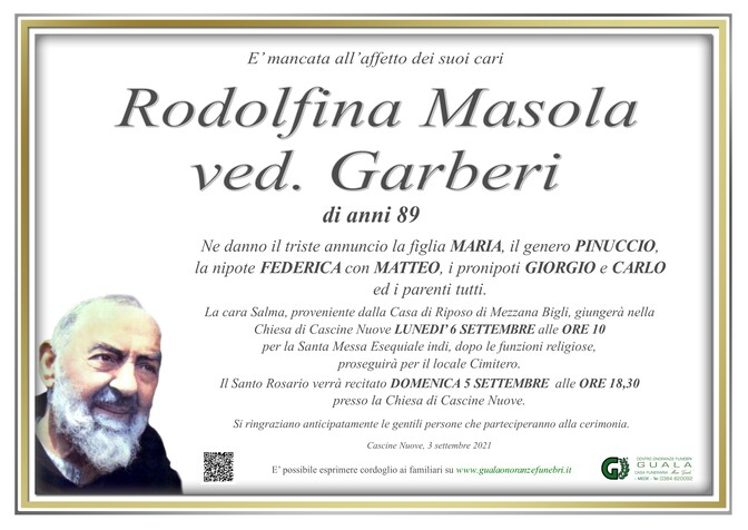 Necrologio di Rodolfina Masola ved. Garberi