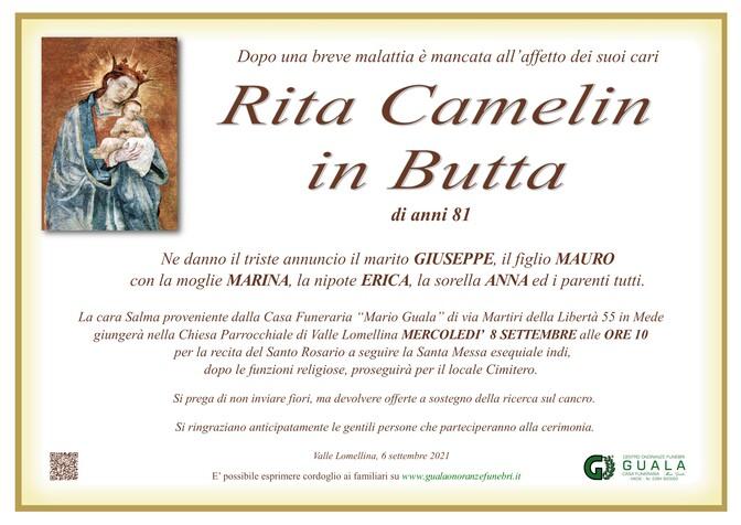Necrologio di Rita Camelin in Butta