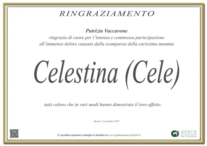 Ringraziamento per Celestina (Cele) Montalenti ved. Vaccarone