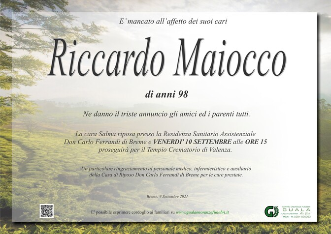 Necrologio di Riccardo Maiocco