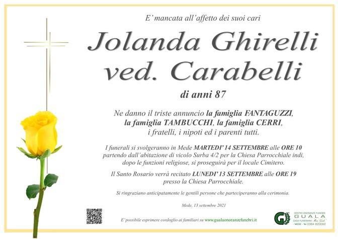 Necrologio di Jolanda Ghirelli ved. Carabelli