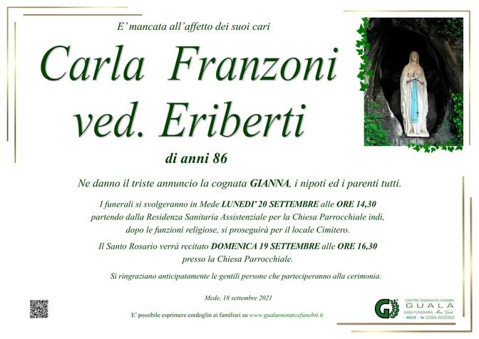 Necrologio di Carla Franzoni ved. Eriberti
