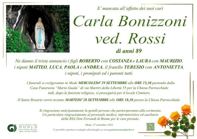 Necrologio di Carla Bonizzoni ved. Rossi