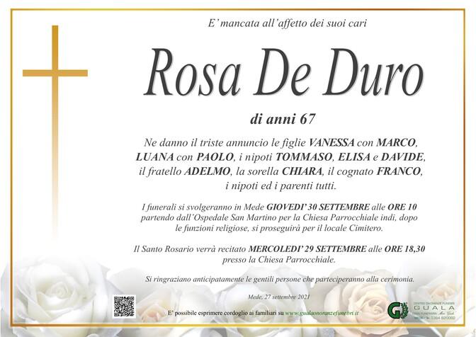 Necrologio di Rosa De Duro