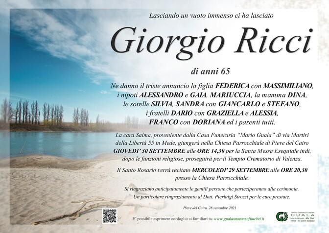 Necrologio di Giorgio Ricci