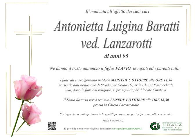 Necrologio di Antonietta Luigina Baratti ved. Lanzarotti