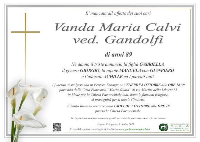 Necrologio di Vanda Maria Calvi ved. Gandolfi