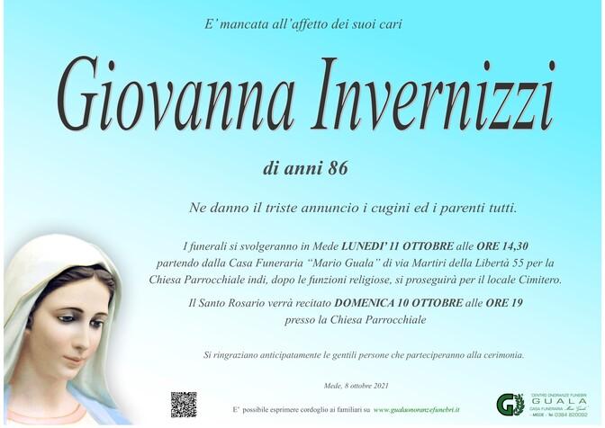 Necrologio di Giovanna Invernizzi