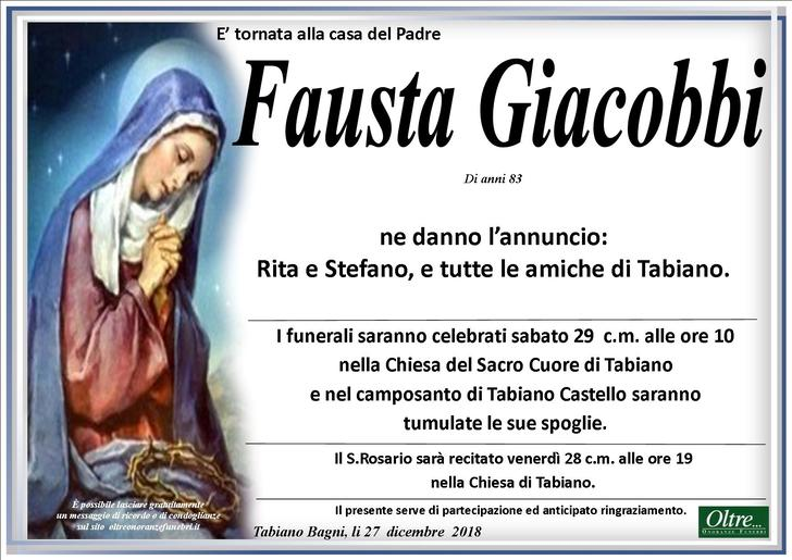 Necrologio di Fausta Giacobbi