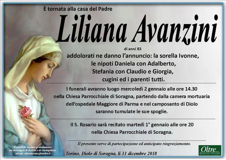 Necrologio di Avanzini Liliana