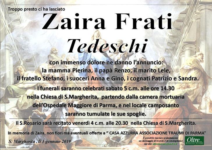 Necrologio di Zaira Frati