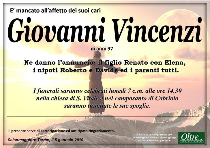 Necrologio di Giovanni Vincenzi