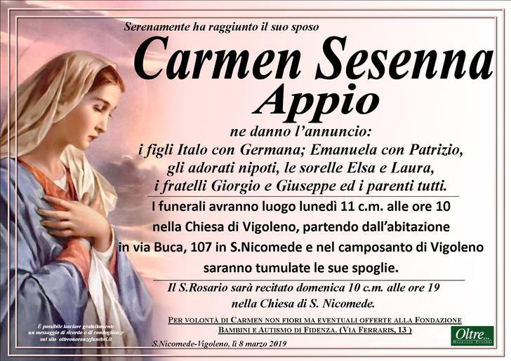 Necrologio di Carmen Sesenna Appio