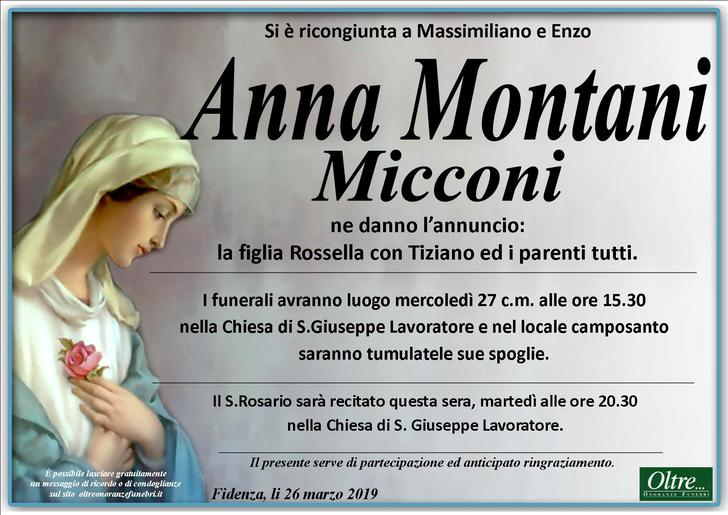 Necrologio di Anna Montani Micconi