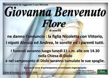 Necrologio di Giovanna Benvenuto Flore