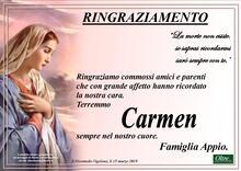 Ringraziamento per Carmen Sesenna Appio