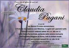 Necrologio di Claudia Pagani