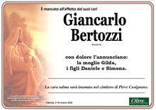 Necrologio di Giancarlo Bertozzi