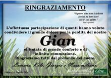 Ringraziamento per Giancarlo Craviari