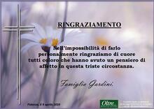 Ringraziamento per Lina Briosi ved. Gardini