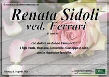 Necrologio di Renata Sidoli ved. Ferrari