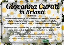 Necrologio di Giovanna Curati in Brianti