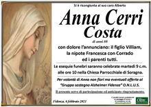 Necrologio di Anna Cerri Costa