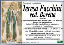 Necrologio di Teresa Facchini ved. Beretta