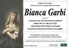 Necrologio di Bianca Garbi