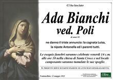 Necrologio di Ada Bianchi ved. Poli