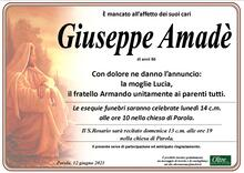 Necrologio di Giuseppe Amadè