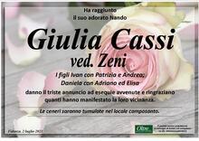 Necrologio di Giulia Cassi Ved. Zeni