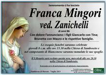Necrologio di Franca Mingori ved. Zanichelli