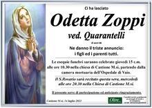Necrologio di Odetta Zoppi ved. Quarantelli